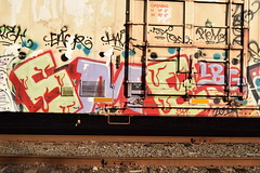 SME (TheGraffitiHunters) Tags: street red white green art car train graffiti colorful paint purple tracks spray boxcar refrigerator freight reefer sme benched benching