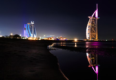 City of lights (Amir Shayani) Tags: city travel blue light sea sky reflection building beach water beautiful architecture night hotel dubai uae arab luxury burj