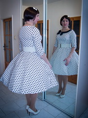 Polka dots (blackietv) Tags: white black vintage dress skirt polka crossdressing retro full tgirl transgender polkadots transvestite dots housewife crossdresser petticoat