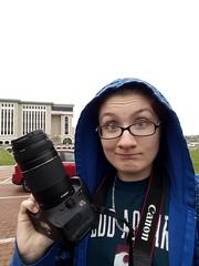 Shooting In The Rain - Photos Of My Subject(s) To Follow (SarahJDhue) Tags: blue me rain canon campus hoodie cellphone samsung shooting lc selfie lccc lewisandclarkcommunitycollege galaxys6 sarahjdhuephotos sarahjdhue