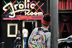 Frolic Room (Carrie McGann) Tags: hat sign losangeles interesting nikon colorful neon hollywood backpack neonsign hollywoodblvd frolicroom 030216