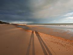 just the two of us 116/366 (dawn.v) Tags: uk england beach coast spring sand shadows dorset april bournemouth rainclouds eveninglight selfie 2016 lumixlx100 2016yip 366daysin2016