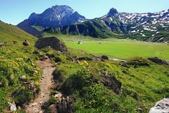 Engstligenalp, Swiss (welenna) Tags: blue schnee summer sky mountain mountains alps landscape switzerland leute view swiss blumen berge alpen blume berneroberland adelboden engstligenalp schwitzerland