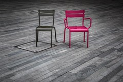 two chairs (alexhaeusler) Tags: square waiting colours chairs zrich