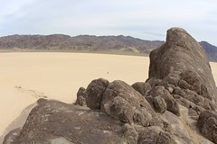Near the top of The Grandstand (daveynin) Tags: rock desert nps playa deathvalley monolith partlycloudy drylakebed