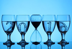 2016 (Karen_Chappell) Tags: blue stilllife holiday glass glasses time newyear numbers liquid happynewyear hourglass 2016