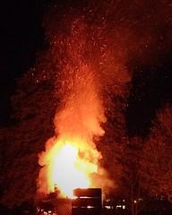 (sherbertwombat) Tags: fire fireworks guyfawkes flame nighttime bonfire bonfirenight embers