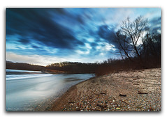 The Water's Edge   Lake Charleston Spillway (StormLoverSwin93   Into the Storm) Tags: longexposure blue sky motion water weather clouds canon dark landscape photography waterfall twilight circularpolarizer spillway waterscape charlestonillinois 60d canon60d canoneos60d colescountyillinois