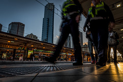 On the Beat (bvanpraagh) Tags: city station train march movement nightscape platform police melbourne trainstation flindersst victoriapolice