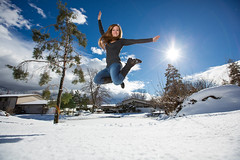 Kind of takes the bite out of winter. (Flickr_Rick) Tags: winter woman snow cold girl outside jump jumping breanne jumpology