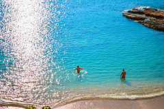 Athens Blue (free3yourmind) Tags: blue winter people sun sunlight swimming swim couple time turquoise athens greece vouliagmeni