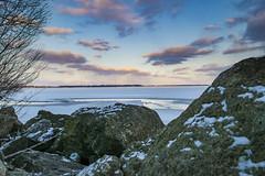 Grand Lake, OH (bdbaum17) Tags: winter sunset ohio lake snow ice frozen rocks celina shoreline grand crack shore oh cracking