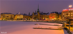 Stockholm's Old Town (explored) (AdelheidS photography) Tags: city winter snow lights cityscape waterfront sweden stockholm capital gamlastan sverige bluehour oldtown suecia zweden capitalcity canoneos6d adelheidspictures adelheidsmitt adelheidsphotography