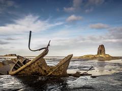 Wreck of the Admiral Van Tromp â Saltwick Bay (M Tyson) Tags: uk sea black beach water rock landscape boats bay coast boat tromp fishing rocks yorkshire tide low line shipwreck whitby coastline van wreck admiral seashore nab saltwick