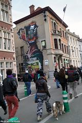 Anonymous OpAwakening Gent (Red Cathedral is alive) Tags: streetart graffiti march mask cosplay protest guyfawkes convention vforvendetta banners anonymous gent resistance resist larp manifestation gunpowderplot occupy eventcoverage aztektv millionmaskmarch leftwingdemonstration opawakening