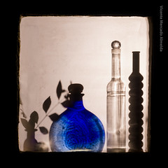 Bodegn de luz (Vicente Mercado) Tags: blue plant planta hoja azul backlight ventana leaf bottle arquitectura botella arquitecture