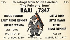 Ridge Runner, Lady Ridge Runner, Wicked Wanda - McBee, South Carolina (73sand88s by Cardboard America) Tags: cbradio qsl cb vintage confederate stockcard mcbee southcarolina qslcard
