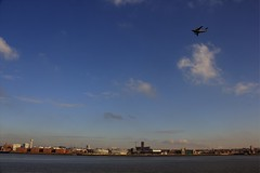 C-17 military transport aircraft flying over the Mersey (pelpa_666) Tags: water liverpool plane canon photography dock cathedral military albert front cargo c17 1855 hdr anglican mersey merseyside rivermersey photomatrix canon550d