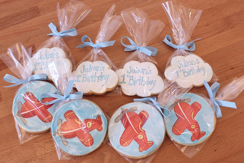 Airplane and Cloud Sugar Cookie Favors