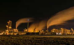 Working into the night (tquist24) Tags: longexposure sky night geotagged outdoors nikon industrial unitedstates indiana southbend ethanol nikond5300 nobleamericasethanolplant