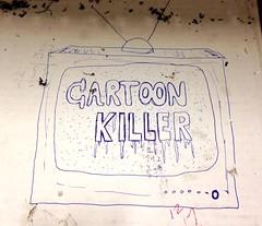 Cartoon Killer (rabidscottsman) Tags: scotthendersonphotography iphone graffiti work tv cartoon cartoonkiller 5c iphone5c ink blueink television art artistic antenna rabbitears 12 17 math numbers cardboard socialmedia