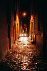 (michel nguie) Tags: street city light orange film lines car vertical stone night analog noche perspective bordeaux nuit carheadlights burdigala michelnguie