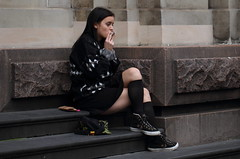 Puff (drez5mond) Tags: street black girl fashion stairs sweater legs candid style skirt smoking crossed