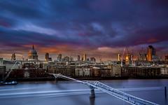 Sunset over London (Luke Hanna) Tags: city uk bridge sunset london st thames skyline clouds river cathedral pauls millennium