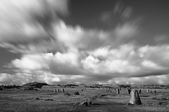The Hurlers Stone Circle, Minions, Cornwall (Richard D Porter) Tags: uk longexposure england sky cloud monochrome clouds canon landscape blackwhite cornwall outdoor depthoffield filter m42 polarizer 550d 10stop hoya28mmf28