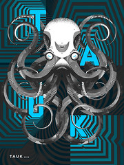 Tauk Tour Poster (Kyle J. Letendre) Tags: illustration print poster typography mix screenprint pattern stripes gig band screen type octopus mixing lettering moire moir tauk