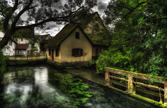 Grimms' Fairy Tales (Frags of Life) Tags: trees house reflection green water river minolta sony algae a7 blaubeuren