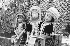Hill Tribe Girls (beau patrick coulon) Tags: blackandwhite kids thailand streetphotography 35mmfilm chiangmai posers canonae1 wat hmong hilltribe doi suthep prathat filmlovers
