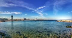 Barcelona (bertanuri bcn) Tags: barcelona sea beach skyline clouds landscape mediterraneo bcn playa paisaje catalonia explore barceloneta nubes catalunya plage paissatge catalua platja nuvols catalogne mediterranee mediterrani explored bertanuri