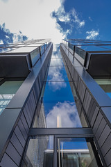 Quarter Mile Development-14 (Philip Gillespie) Tags: street city blue windows sky sun white reflection tower glass up skyline architecture clouds contrast work buildings outside photography scotland office spring edinburgh cityscape angle outdoor wide meadows april series block leading 2016 sequent