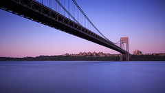 George Washington Bridge (Jemlnlx) Tags: new york nyc bridge sunset bw ny 30 skyline canon eos is george washington ross dock long exposure picnic view angle zoom mark iii wide nj filter nd area jersey l 5d usm ef f4 stacked gwb graduated density neutral tiffen 1635mm gnd