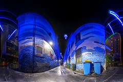 Intrigue (John_de_Souza) Tags: street blue urban panorama mystery sydney odd unknown mysterious intrigue nightpanorama sydneyatnight kimberlane johndesouza