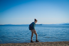 Trecking The Beach (Evan's Life Through The Lens) Tags: life camera people sun lake color college beach water glass vintage lens fun friend warm day shine minolta bright walk vibrant sony relaxing sunny calm hike adventure subject a7s