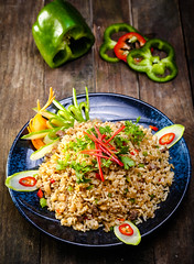 Vegetable Fried Rice recipe (design1986vn) Tags: food white chicken cooking vegetables dinner recipe asian lunch pepper cuisine restaurant vegan healthy asia dish rice background chinese crab tasty plate bowl vegetable fresh meat delicious thai meal spicy cooked fried isolated