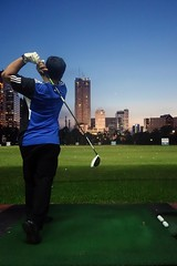 Swing of the blue hour (yusron@motret) Tags: sunset golf bluehour drivingrange yusronmotret