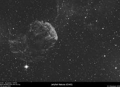 Jellyfish Nebula - IC443 (alastair.woodward) Tags: sky blackandwhite cloud abstract black texture monochrome night canon stars outside 350d mono photo jellyfish outdoor budget background derbyshire border surreal nebula astrophotography goto pro astronomy lunar derby cfa skywatcher ic443 heq5 st80 astrometrydotnet:status=solved qhy5lii 130pds debayered astrometrydotnet:id=nova1381263