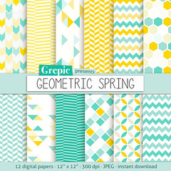 """Geometric digital paper: """"GEOMETRIC SPRING"""" digital paper pack with yellow and teal / turquoise geometric patterns and backgrounds (workyourart) Tags: blue geometric yellow triangles digital paper colorful turquoise teal background patterns honeycomb chevron"""