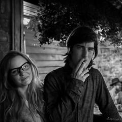 Charlotte & The man (SimplSam) Tags: boy woman man london girl smile night happy glasses social smoking trendy panasoniclumixdmcg7 lumixg25mmf17
