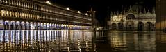 San Marco (Venice) (filippogatteschi) Tags: reflection water colors yellow night canon eos high san gallery cathedral time blu marco alta acqua venezia highlight notte cattedrale riflesso colonnato sansovino 70d