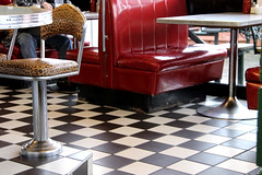Bobby Sox Diner Floor (and a bonus bench for Bench Monday!) (ruthlesscrab) Tags: canada breakfast bc diner 50s mapleridge bobbysox