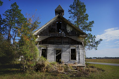 (farenough) Tags: county old blue sky building history abandoned church rural ga georgia photo decay south faith historic falling southern forgotten collapse methodist wander ware rurex