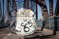 Graffitied Route 66 (GlobalGoebel) Tags: old bridge usa bikepath bike sign river graffiti us illinois route66 66 route missouri rack mississippiriver ironwork helios us66 helios442 canoneos5dmarkii oldchainofrocks greatriversgreenway