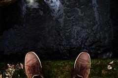 Moss (kali_fonia) Tags: bridge feet water forest river shoe moss woods shoes stream walk poland edge gorzw