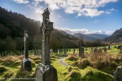 Celtic Crosses in the Cemetery at Glendalough (bob golden) Tags: ireland winter irish snow cemetery landscape outdoors countryside cross sunny glendalough celtic wicklow