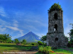 Cagsawa Tower and Mayon Volcano (Rex Montalban Photography) Tags: church volcano ruins philippines belltower bicol cagsawa mayonvolcano rexmontalbanphotography churchburiedbythevolcano
