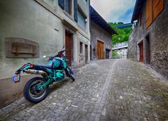 Motorcycle in Old Town Montreux, Switzerland (` Toshio ') Tags: street bike switzerland europe european swiss cobblestone motorcycle suzuki oldtown montreux toshio xe2 fujixe2